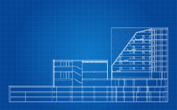 Modern Hotel Building Architectural Blueprint Royalty Free Stock Images