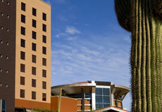 Modern Hotel Building in the Desert Stock Images