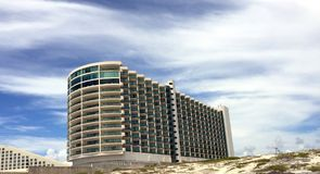 Modern Hotel In Cancun Mexico. Wonderful Beach front hotel with a contemporary design in the heart of Cancun's hotel district Stock Image