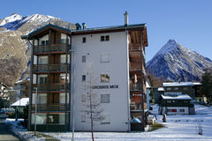 Modern hotel in the charming Swiss resort of Saas-Fee Royalty Free Stock Photo