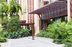 Modern hotel courtyard Stock Photography