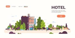 Modern hotel house exterior hostel building for business facade landscape cityscape background flat horizontal copy. Space vector illustration stock illustration