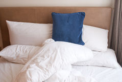 Modern hotel interior bed Stock Image