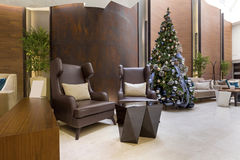 Modern hotel lobby cafe interior.  Royalty Free Stock Photo