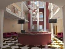 Modern hotel lobby with reception Stock Photos