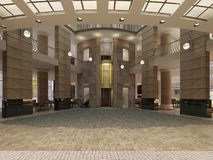 Modern Hotel Lobby With Multi-level Interior Space And Balconies. The Interior Of The Hotel Lobby In A Classic Style Royalty Free Stock Images