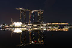 Modern hotel Marina Bay Sands at night, Singapore Royalty Free Stock Photo