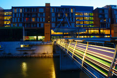 Modern Hotel By The River By Night Royalty Free Stock Photos