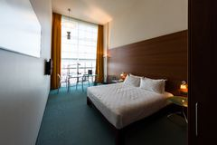 Modern hotel room cleaned and ready for check-in. Italy Stock Photos