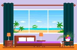 Modern hotel room suite with a panoramic window. Tropical ocean landscape with palm trees and seagulls. flat vector. Illustration royalty free illustration