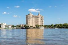 Modern Hotel on Savannah River royalty free stock image