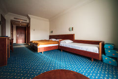 Modern hotel suite. Hotel room with king size bed Stock Photos
