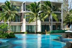 Modern hotel in Thailand on Phuket stock images