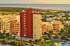 Modern hotels and apartments Almeria Spain stock photography
