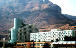 Modern hotels ashore the Dead sea. Modern hotels on a background mountains and ashore the Dead sea Stock Images