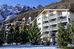 Modern hotels in the charming Swiss resort of Saas-Fee Stock Photo
