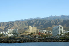 Modern hotels on Playa de Las Americas, Tenerife Stock Image