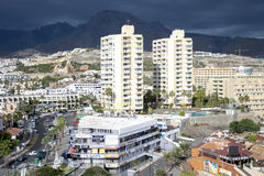 Modern hotels on Playa de Las Americas, Tenerife Royalty Free Stock Image