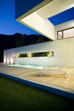 Modern house. Outdoor modern house by night royalty free stock photography