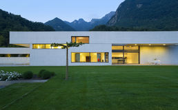 Modern house. Panorama view modern house by night royalty free stock photography