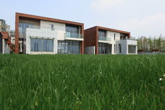 Modern house. With its lawn Stock Image