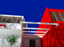 Modern house. Exterior of the modern design privat  residential house Royalty Free Stock Images