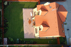 Modern house. Air view of a new house with a garden royalty free stock photos