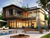 Modern house. Interior and exterior design Royalty Free Stock Image
