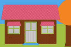 Modern house. Colorful illustration of modern single story house in countryside Stock Photography