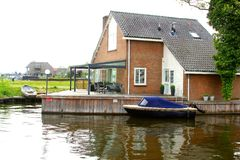 Modern home with a terrace along the Loosdrecht Lakes, Netherlands  Stock Image