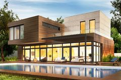 Free Modern House And Swimming Pool. Evening View Royalty Free Stock Photos - 142845768