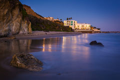 Modern house on the beach at night, seen from El Matador State B. Each, Malibu, California Stock Images