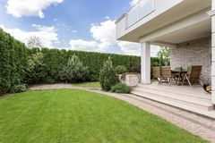 Modern house with beauty garden Stock Images