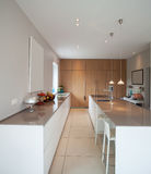 Modern house,big minimal kitchen. Nobody inside stock photos
