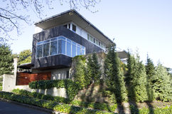 Modern house. With big windows for natural lighting stock photo