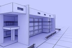Modern house blueprint. 3d illustration of a modern house design in a blueprint style Stock Photo