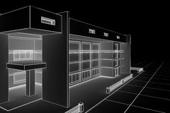 Modern house blueprint. 3d illustration of a modern house design in a blueprint style Stock Images
