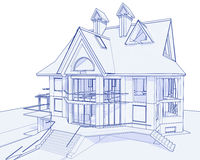Modern house - blueprint Stock Image
