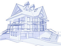 Modern house - blueprint. 3d blueprint house: vector technical draw Stock Photo