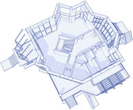 Modern house - blueprint Stock Photography