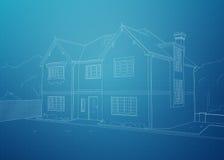 Modern House Blueprint Stock Image