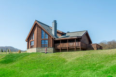 Modern house in bright summer day Royalty Free Stock Photography