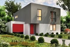 Modern house and car garage. Modern small house and garage for a car royalty free stock photo