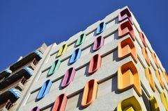 Modern house colorful elements Tenerife Canary Islands royalty free stock images