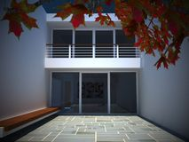 Modern house courtyard. An image of a modern house courtyard stock illustration