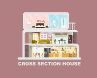 Modern House Cross Section Flat Vector Interiors royalty free illustration