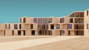 Modern house 3d wood model Stock Photography