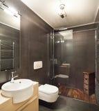 Modern house, dark bathroom Royalty Free Stock Images
