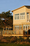 Modern House and Deck. Modern two-storey beachfront home and deck in Wasaga Beach, Ontario Royalty Free Stock Image