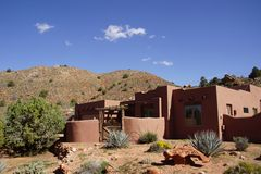 Modern house in desert mesa Stock Image